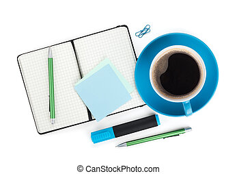 Blue coffee cup and office supplies View from above Isolated...