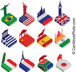 flat isometric 3d flag icons, famous world landmarks on white