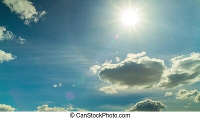 blue sky and sun, time-lapse