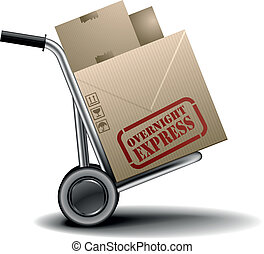 handtruck overnight - detailed illustration of a handtruck...