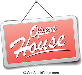 Sign Open house - detailed illustration of a red shop sign...