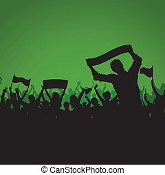 Soccer or Football crowd background - Silhouette of a soccer...