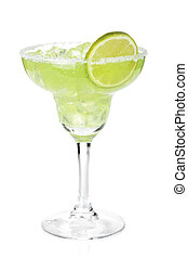 Classic margarita cocktail with lime slice and salty rim....