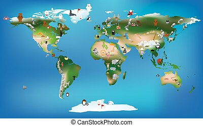 world map for childrens using cartoons of animals and famous lan