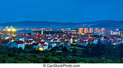 Town of Zadar blue hour panorama, Dalmatia, Croatia