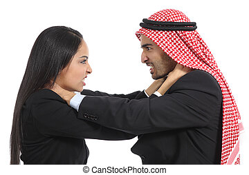 Arab saudi business man and woman competition