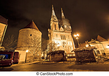 Zagreb cathedral night christmas view, Croatia