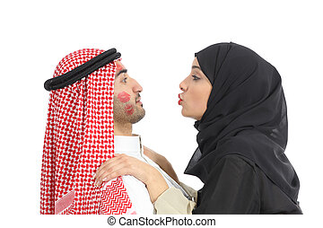 Arab saudi obsessed woman kissing a man - Arab saudi...