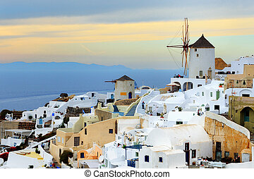The sunset in Oia, Santorini island, Greece