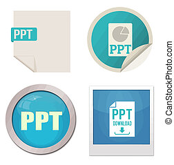Ppt icon set on white background, vector illustration