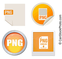 Png icon set on white background, vector illustration