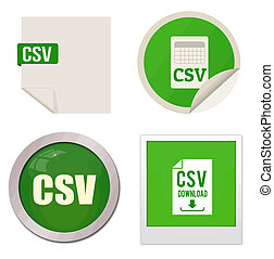 Csv icon set on white background, vector illustration