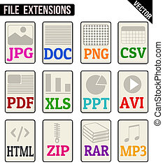 File types icons set on white background, vector...