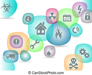 Safety icons - Background with safety icons in round...