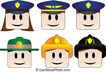 Occupations Icons - Police, Officer, Firefighter, Park...