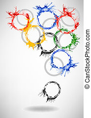 Vector Watercolor Rings - abstract background