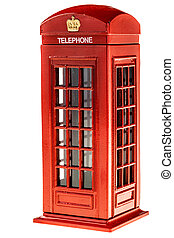 Phone booth - a typical english red phone booth isolated...