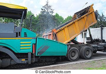 máquina, espalhar, asfalto