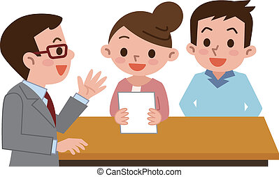 Couple submit documents  - Vector illustration.