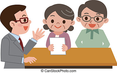 Senior couple submit documents - Vector illustration.