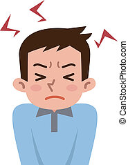 Men get frustrated with stress  - Vector illustration.