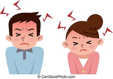 Men and women to be frustrated by s - Vector illustration.