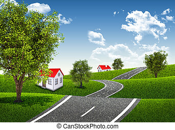 Road runs through the verdant hills. Houses and trees as a...