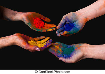 Colorful painted hands, holding holi isolated