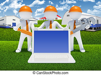 Three 3d white people with tools and laptop