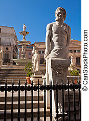 Piazza Pretoria with the fountain in Palermo, Sicilia, Italy