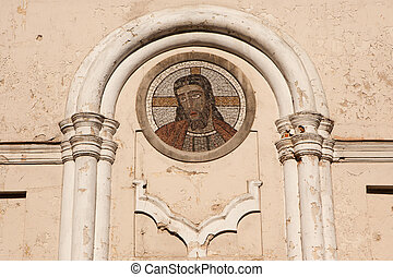 Jesus Mosaic on the facade of Corpus Christi Church in...