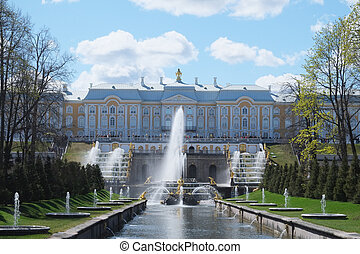 Grand Cascade Fountains At Peterhof Palace garden, St. Petersbur