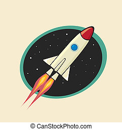 vintage style retro poster of Space rocket - retro poster of...
