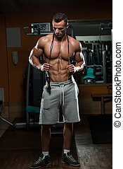 Cardio Time - Handsome Muscular Man With Jumping Rope -...