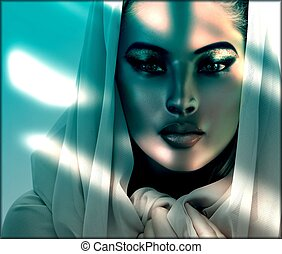 Beauty in the shadows. - A beautiful woman's face is even...