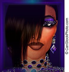 Bangs hairstyle girl Purple makeup, necklace, earrings and...