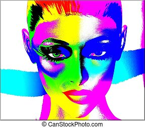 Colorful pop art image,womans face - Colorful pop art image...