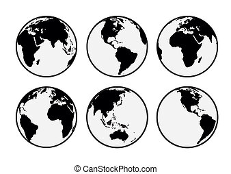 Six black and white vector Earth globes