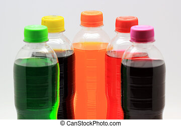soft drink - colorful of soft drink bottles on isolated...