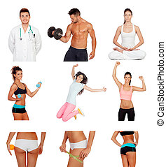 Photo collage of healthy people practicing fitness isolated...