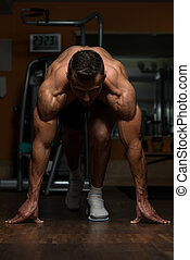 Are You Ready - Strong Muscular Men Kneeling On The Floor -...
