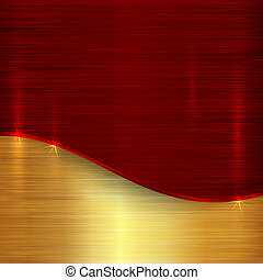 Vector abstract cherry red and gold metallic background -...