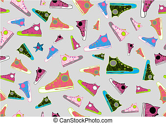 cool hand-drawn sport shoes - Retro Seamless Pattern made of...