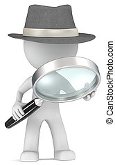 Case. - Dude the detective with magnifying glass. Film Noir...
