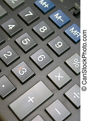 Old calculator keyboard close-up horisontal photo with gray...