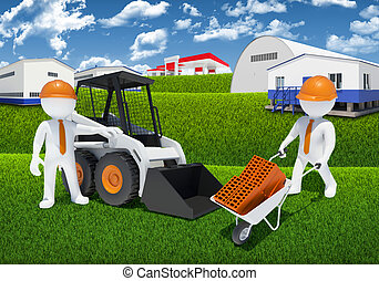 Two 3d workers with loader and wheelbarrow - Two 3d white...