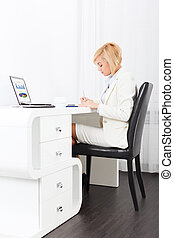 businesswoman writing, signing up paper document, business...