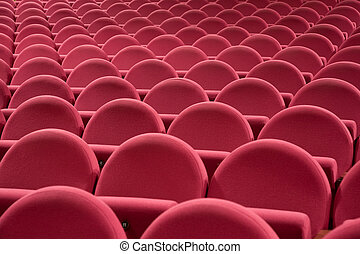 Cinema interior - Close-up of empty cinema auditorium with...