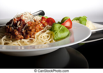bolognese spaghetti - Plate of spaghetti bolognese with...
