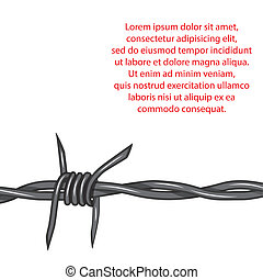 Barbed wire. Vector - Barbed wire background. Vector fence...